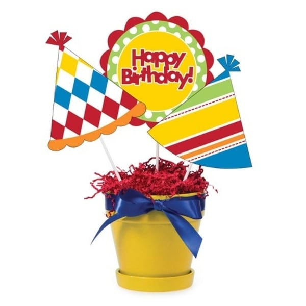 Shop Club Pack Of 18 Yellow Red And Blue Happy Birthday Hat