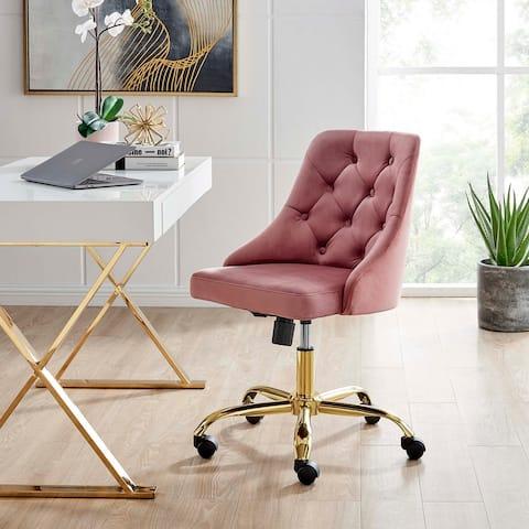 Distinct Tufted Swivel Performance Velvet Office Chair