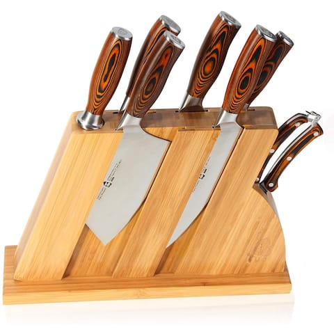 TUO Fiery Series 8pcs Knives Set w/Wooden Block,Honing Steel and Shears
