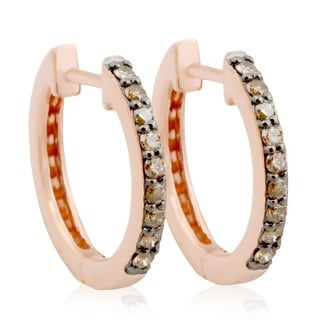 Brand New 0.25 Carat Round Brilliant Cut Natural Brown Diamond Hoop Earring