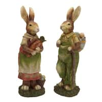 """Easter Bunny Rabbits Couple with a Backpack and a Large Carrot 18"""""""