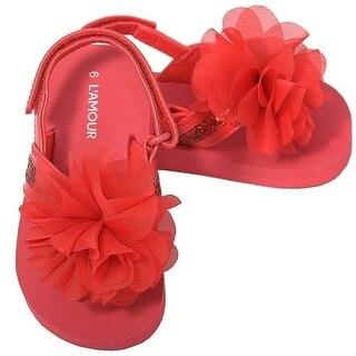 L'Amour Red Sequin Strap Flower Flip Flop Sandals Toddler Girls 5-10