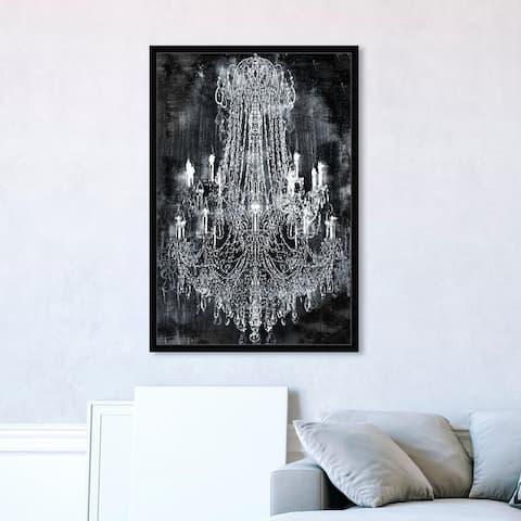 Oliver Gal 'Crushed Velvet Chandelier' Fashion and Glam Framed Wall Art Prints Chandeliers - Black, White