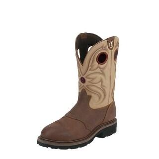Tony Lama Work Boots Mens 3R Saddle Vamp Steel Toe Sienna Bayou RR3210