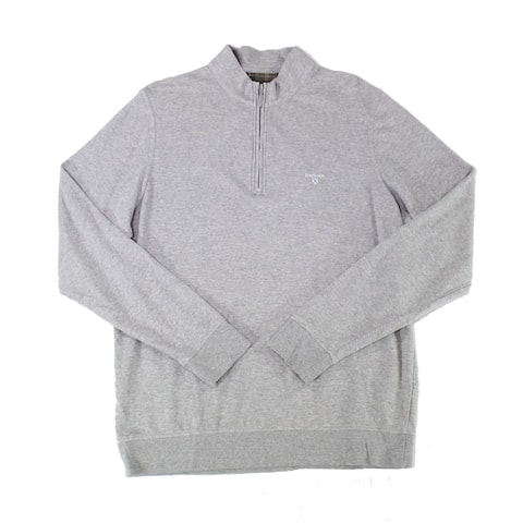 Barbour Mens Sweater Gray Size Large L 1/4 Zip Stand Collar Pullover