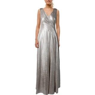 Lauren Ralph Lauren Womens Petites Evening Dress Metallic Surplice