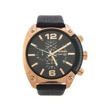 Diesel Dz4297 Chronograph Black Textured Leather Strap Watch Watch For Men