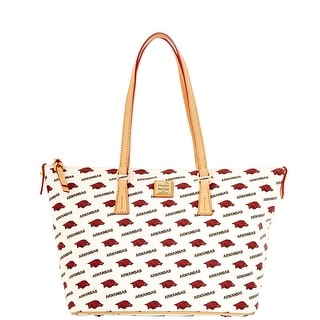 Dooney & Bourke NCAA Arkansas Zip Top Shopper (Introduced by Dooney & Bourke at $248 in Nov 2014) - White