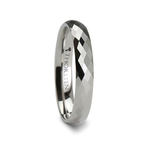 THORSTEN - SCOTTSDALE 288 Diamond Faceted White Tungsten Ring - 4mm