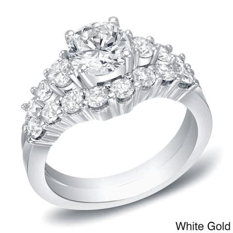 Auriya 14k Gold 2ctw Round Diamond Engagement Ring Set Certified