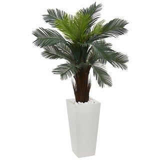 Nearly Natural 4.5' Cycas Artificial Plant in White Tower Planter