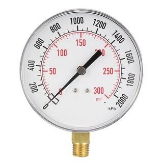 """Pressure Gauge , 0-300 PSI/0-2000kPa Dual Scale , 3.5"""" Dial Display , 1/4"""" NPT"""