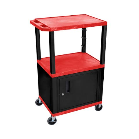 """OF-WT42RC2E-B - Offex 42"""" Three Flat Shelves AV Electric Cart with Cabinet - Black Legs, Red"""
