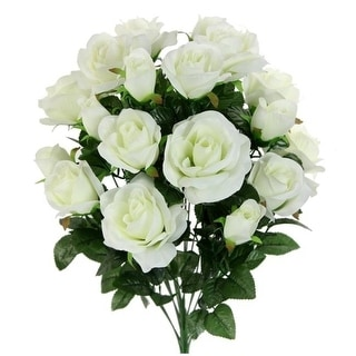 Admired by Nature GPB6433-CREAM 18 Stems Artificial Rose Buds Mixed Flower Bush Cream