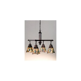 Meyda Tiffany 24269 Stained Glass / Tiffany 4 Light Down Lighting Chandelier from the Mackintosh Bungalow Collection
