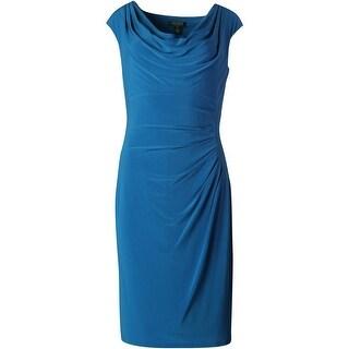 Lauren Ralph Lauren Womens Matte Jersey Ruched Wear to Work Dress - 16