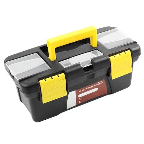 "Unique Bargains Hard Plastic Case DIY Hand Tool Storage Box 9.8"" x 4.3"" x 3.7"" w Handle"