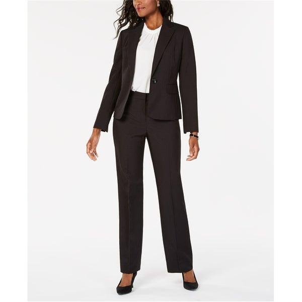 Le Suit Womens Pinstripe One Button Blazer Jacket, Black, 8. Opens flyout.