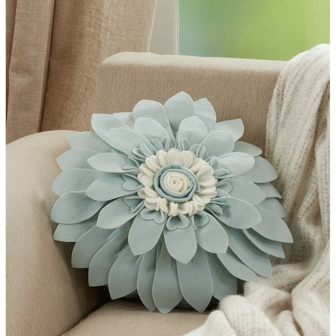 Felt Flower Design Poly-Filled Throw Pillow