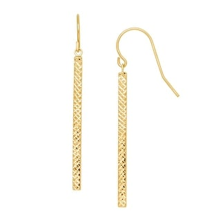 Just Gold Etched Tube Drop Earrings in 10K Gold - Yellow