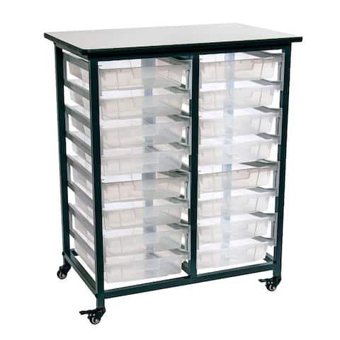 Luxor Furniture Mobile Bin Storage Unit - Double Row with Small Clear Bins