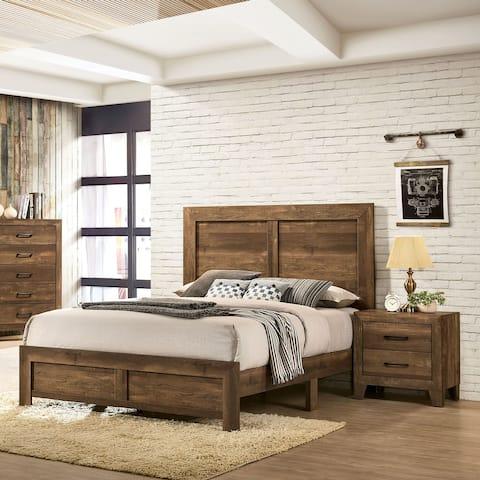 Furniture of America Loa Transitional Rustic Walnut 2-piece Bedroom Set