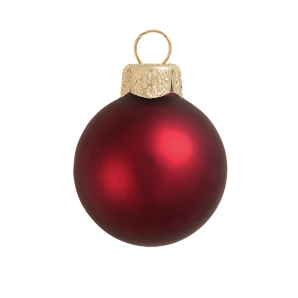 "40ct Matte Henna Red Glass Ball Christmas Ornaments 1.25"" (30mm)"