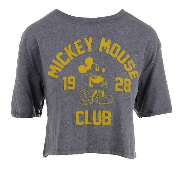 Disney Womens Juniors T-Shirt Heathered Mickey Mouse Graphic