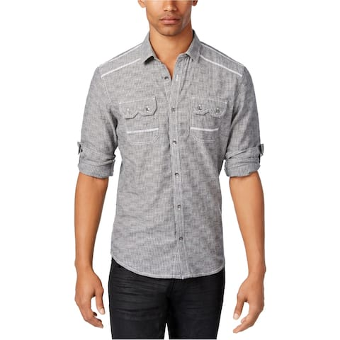 I-N-C Mens Textured Button Up Shirt