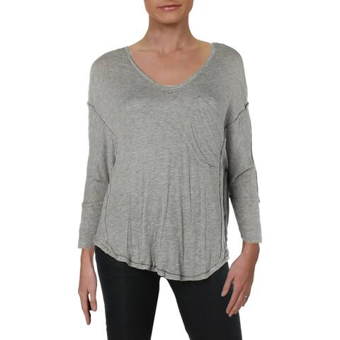 We The Free Womens Golden Gate Henley Top 3/4 Sleeves V-Neck