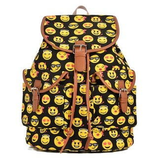 Hearty Trendy Girls Women Black Yellow Print Exterior Pockets Backpack