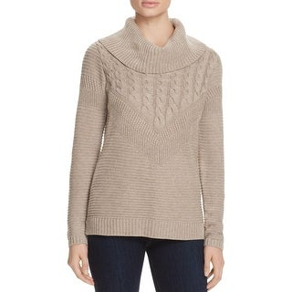 Calvin Klein Womens Pullover Sweater Cable Knit Cowl Neck