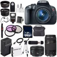 Canon EOS Rebel T5i 18 MP CMOS DSLR Camera f/3.5-5.6 Lens (International Model) + Canon EF 75-300mm USM Lens Bundle