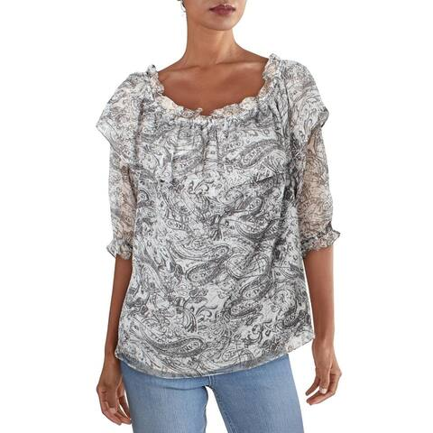 Vince Camuto Womens Blouse Paisley Off-The-Shoulder