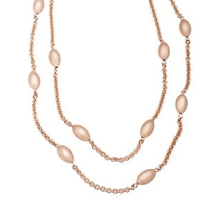 Station Bead Necklace in 18K Rose Gold-Plated Bronze - Pink