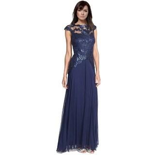 Tadashi Shoji Sequined Lace Cap Sleeve Evening Gown Dress