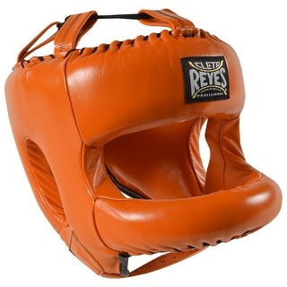 Cleto Reyes Redesigned Leather Boxing Headgear w/ Nylon Face Bar - Tiger Orange