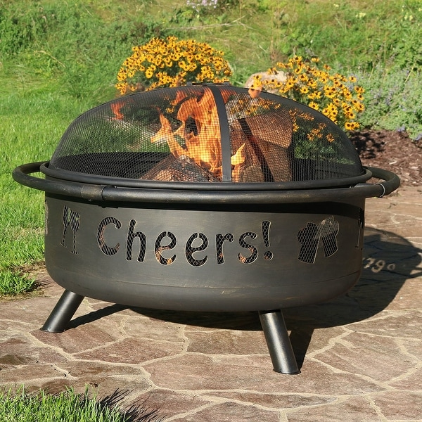 Sunnydaze 36 Inch Cheers Large Fire Pit with Brushed Metal Finish & Spark Screen