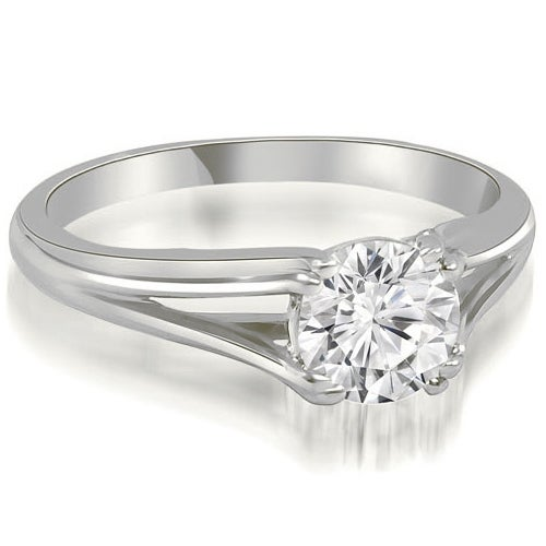 0.75 cttw. 14K White Gold Elegant Split-Shank Solitaire Diamond Engagement Ring