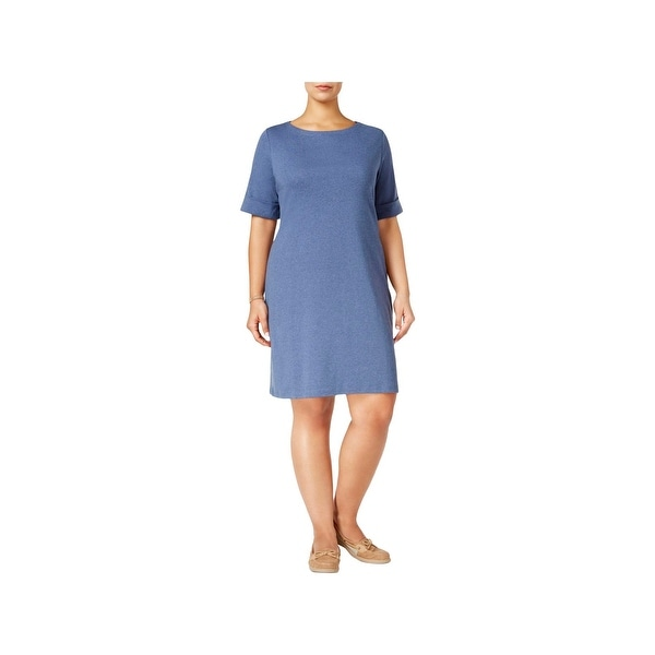 Karen Scott Womens Plus Casual Dress ElbowSleeves Pullover