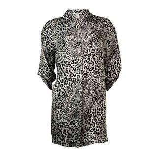 Alfani Women's Roll-Tab Animal Print Charmeuse Sleepshirt - XS