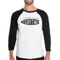 Summer Calling It's Surf Time Mens 3/4 Sleeve Round Neck Raglan Tee