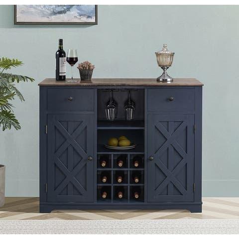 Contemporary X-door Wine Bar Cabinet