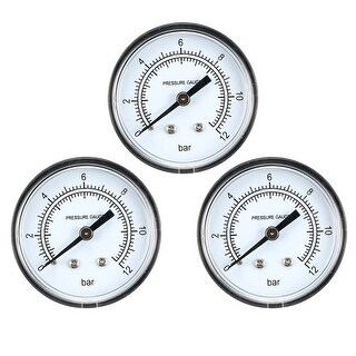 "Pressure Gauge , 0-12 BAR Dual Scale 2"" Dial Display , 1/4"" NPT 3pcs"