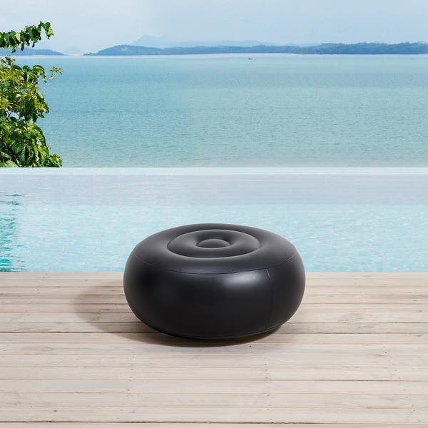 Ove Decors Marlowe 21 In Blue Leaf Outdoor Inflatable Ottoman Overstock 31635000
