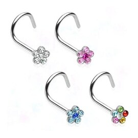 Surgical Steel Nose Screw with Gem Paved Flower - 18 GA (Sold Ind.)