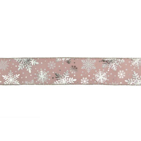 """Pink and Silver Snowflake Christmas Wired Craft Ribbon 2.5"""" x 16 Yards"""