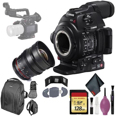 Canon C100 Mark II EOS Camera CMOS AF - 128GB - Rokinon DS 24mm T1.5