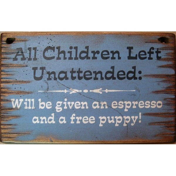 Cowboy Signs Wood Wall Hanging Children Left Unattended Blue