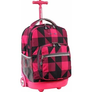 J World New York Sunrise 18 Inch Rolling Backpack, Block Pink